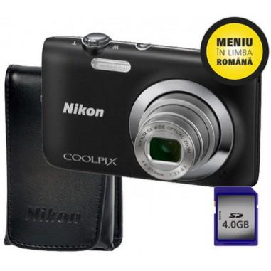 Aparat foto digital Nikon S2600B + Husa + SD4GB, Compact, 14 Megapixeli, 4x