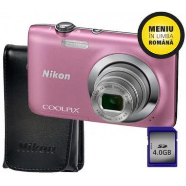 Aparat foto digital Nikon S2600P + Husa + SD4GB, Compact, 14 Megapixeli, 4x
