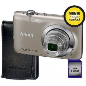 Aparat foto digital Nikon S2600S + Husa + SD4GB, Compact, 14 Megapixeli, 4x
