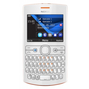 Telefon mobil 2SIM Nokia Asha 205 Orange White, 0.3 MP, Clasic, 240x320 pixeli